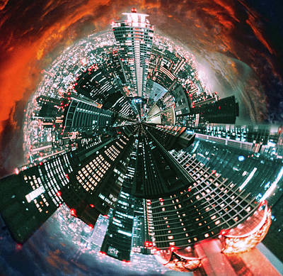 Surrealism Royalty-Free and Rights-Managed Images - Tokyo Tiny Planet by Susan Maxwell Schmidt