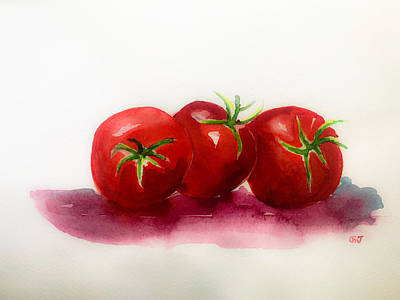 Kitchen Mark Rogan Rights Managed Images - Tomatoes Watercolor Royalty-Free Image by George Jacob