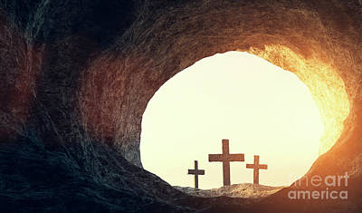 Open Impressionism California Desert Royalty Free Images - Tomb of Jesus Christ. Crucifixion And Resurrection. Religion, Easter theme. Royalty-Free Image by Michal Bednarek