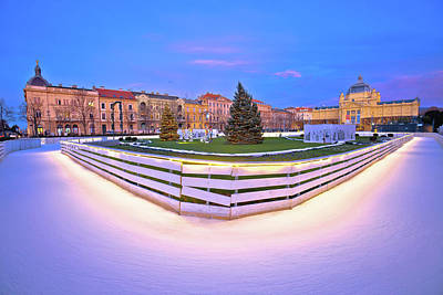 Granger Royalty Free Images - Tomislav square in Zagreb ice skate park advent evening view Royalty-Free Image by Brch Photography