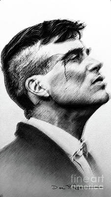Drawings Royalty Free Images - Tommy Shelby in Charcoal Royalty-Free Image by Doc Braham