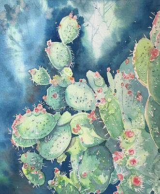 Modern Feathers Art - Topanga prickly Pear Cactus by Luisa Millicent