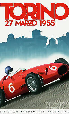 Drawings Royalty Free Images - Torino Italy 1955 Grand Prix Royalty-Free Image by John Bradley