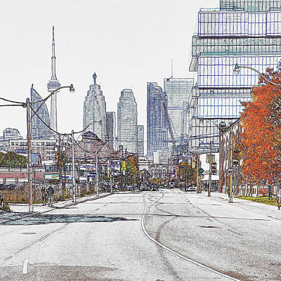 Mixed Media - Toronto Cityscape From The City by Farzad Frames