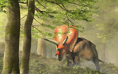 Have A Cupcake - Torosaurus in a Forest by Daniel Eskridge
