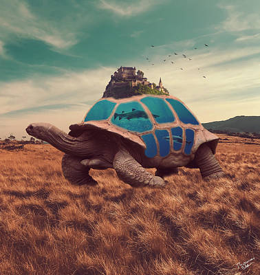 Surrealism Royalty-Free and Rights-Managed Images - Tortoise Castle Surrealism by Thomas M Pikolin
