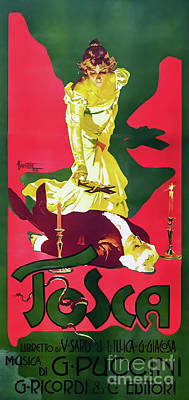 Drawings Royalty Free Images - Tosca Poster for the Original Premier of the Opera by Puccini Royalty-Free Image by Adolfo Hohenstein