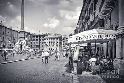 Royalty-Free and Rights-Managed Images - Tourists Dining Outside An Osteria on the Square - Piazza Navona Rome Italy  by Stefano Senise