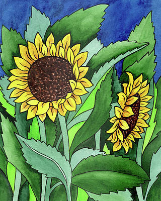 Royalty-Free and Rights-Managed Images - Two Happy Sunflowers Flowers In Batik Watercolor Style by Irina Sztukowski