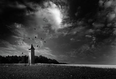 Surrealism Royalty-Free and Rights-Managed Images - Tower and Swirling Crows by Mark Robert Davey