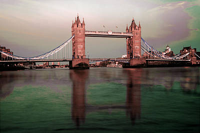 Surrealism Royalty-Free and Rights-Managed Images - Tower Bridge Architecture England - Surreal Art by Ahmet Asar by Celestial Images