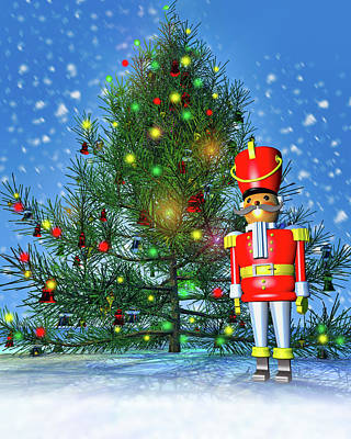 Royalty-Free and Rights-Managed Images - Toy Soldier and Christmas Tree by Bob Orsillo