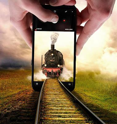 Surrealism Digital Art - Train and Mobile Phone Surreal by Barroa Artworks