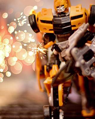 Popstar And Musician Paintings - Transformers Bumblebee  by Neil R Finlay