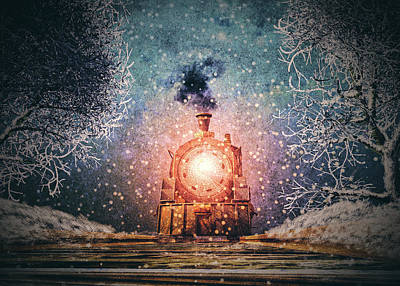 Steampunk Royalty-Free and Rights-Managed Images - Traveling On Winters Night by Bob Orsillo