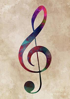 Digital Art - Treble Clef #trebleclef #music by Justyna Jaszke JBJart
