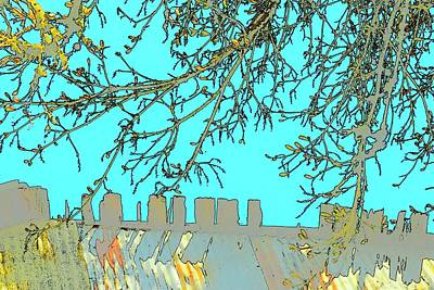 Jerry Sodorff Royalty-Free and Rights-Managed Images - Tree and Roofline by Jerry Sodorff