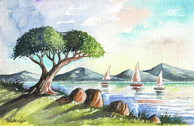 Surrealism Royalty-Free and Rights-Managed Images - Tree and Three Boats by Anthony Mwangi