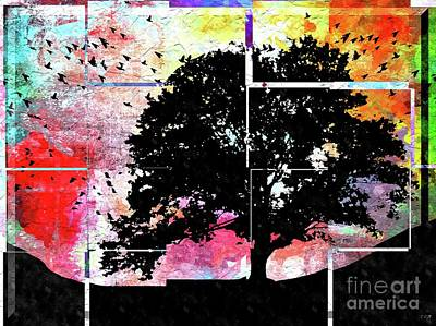 Animals Royalty-Free and Rights-Managed Images - Tree in Tiles Grunge  by Daniel Janda
