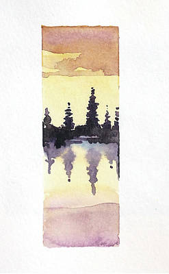 Black And White Ink Illustrations - Trees On Tuolumne Lake by Luisa Millicent