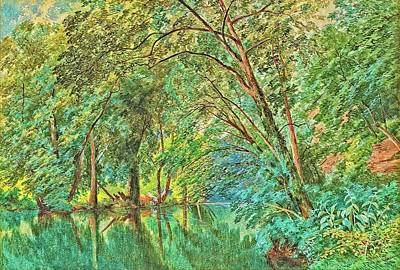 Digital Art - Trees Over the River by Allen Nice-Webb