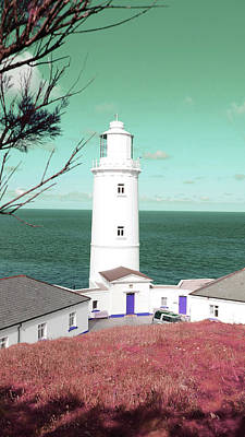 Surrealism Royalty Free Images - Trevose head lighthouse, Cornwall - Surreal Art by Ahmet Asar Royalty-Free Image by Celestial Images