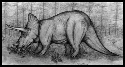 Animals Drawings - Triceratops W/ Border by Michael Panno