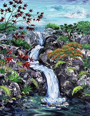 Painting - Triple Waterfall and Turtle by Laura Iverson