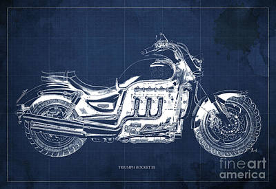 Aretha Franklin - TRIUMPH ROCKET III Blueprint. Blue Background. by Drawspots Illustrations
