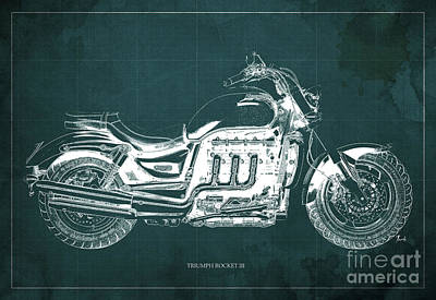 Aretha Franklin - TRIUMPH ROCKET III Blueprint. Green Background. by Drawspots Illustrations