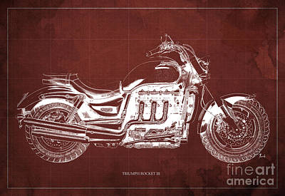 Aretha Franklin - TRIUMPH ROCKET III Blueprint. Red Background. by Drawspots Illustrations