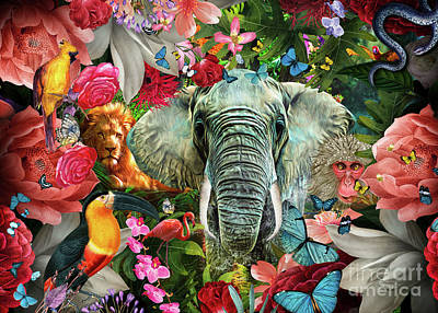 Digital Art - Tropical Flowers and Elephant by MGL Meiklejohn Graphics Licensing