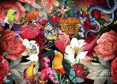 Digital Art - Tropical Flowers and Leopard by MGL Meiklejohn Graphics Licensing