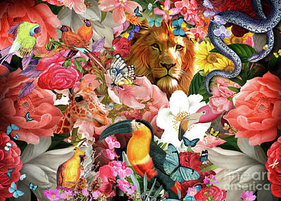 Digital Art - Tropical Flowers and Lion by MGL Meiklejohn Graphics Licensing