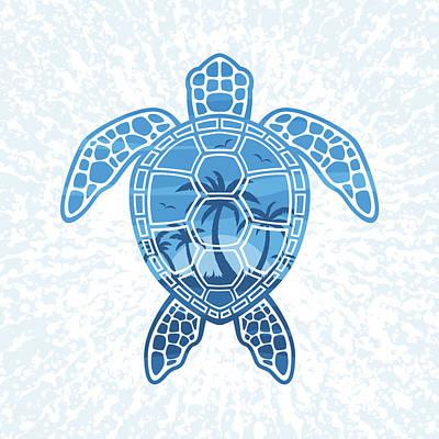 Animals Digital Art - Tropical Island Sea Turtle Design in Blue by John Schwegel