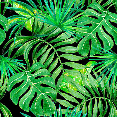 Royalty-Free and Rights-Managed Images - Tropical leaves seamless patern by Julien