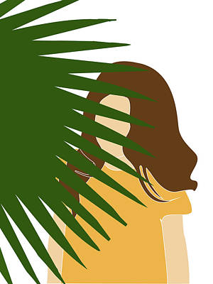 Royalty-Free and Rights-Managed Images - Tropical Reverie 11 - Modern, Minimal Illustration - Girl and Palm Leaves - Aesthetic Tropical Vibes by Studio Grafiikka