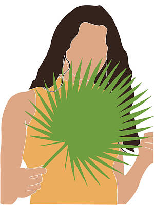 Royalty-Free and Rights-Managed Images - Tropical Reverie 17 - Modern, Minimal Illustration - Girl and Palm Leaves - Aesthetic Tropical Vibes by Studio Grafiikka