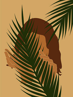 Royalty-Free and Rights-Managed Images - Tropical Reverie - Modern Minimal Illustration 03 - Girl with palm leaf - Tropical Aesthetic - Brown by Studio Grafiikka