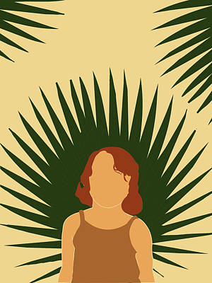 Royalty-Free and Rights-Managed Images - Tropical Reverie - Modern Minimal Illustration 02 - Girl with palm leaf - Tropical Aesthetic - Brown by Studio Grafiikka