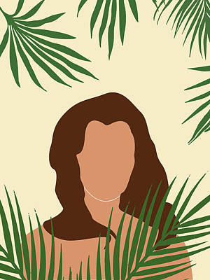 Royalty-Free and Rights-Managed Images - Tropical Reverie 5 - Modern, Minimal Illustration - Girl and Palm Leaves - Aesthetic Tropical Vibes by Studio Grafiikka