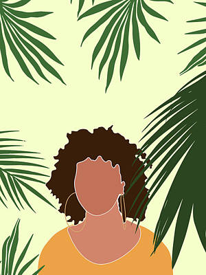 Royalty-Free and Rights-Managed Images - Tropical Reverie 8 - Modern, Minimal Illustration - Girl and Palm Leaves - Aesthetic Tropical Vibes by Studio Grafiikka