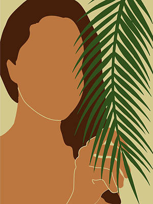 Royalty-Free and Rights-Managed Images - Tropical Reverie - Modern Minimal Illustration 01 - Girl with palm leaf - Tropical Aesthetic - Brown by Studio Grafiikka