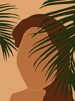 Royalty-Free and Rights-Managed Images - Tropical Reverie - Modern Minimal Illustration 05 - Girl with Palm Leaf - Tropical Aesthetic - Brown by Studio Grafiikka