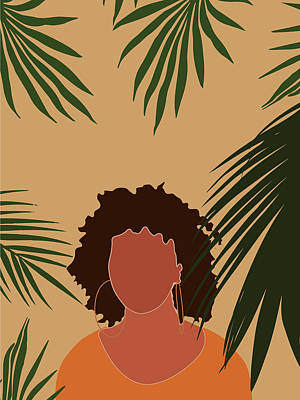 Royalty-Free and Rights-Managed Images - Tropical Reverie - Modern Minimal Illustration 06 - Girl, Palm Leaves - Tropical Aesthetic - Brown by Studio Grafiikka