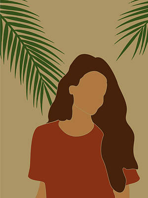 Royalty-Free and Rights-Managed Images - Tropical Reverie - Modern Minimal Illustration 07 - Girl, Palm Leaves - Tropical Aesthetic - Brown by Studio Grafiikka