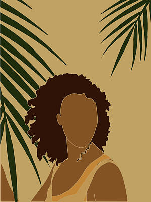 Royalty-Free and Rights-Managed Images - Tropical Reverie - Modern Minimal Illustration 08 - Girl, Palm Leaves - Tropical Aesthetic - Brown by Studio Grafiikka