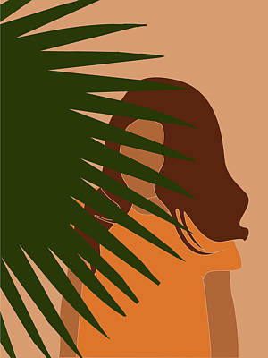 Royalty-Free and Rights-Managed Images - Tropical Reverie - Modern Minimal Illustration 09 - Girl, Palm Leaves - Tropical Aesthetic - Brown by Studio Grafiikka