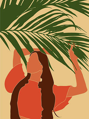 Royalty-Free and Rights-Managed Images - Tropical Reverie - Modern Minimal Illustration 11 - Girl, Palm Leaves - Tropical Aesthetic - Brown by Studio Grafiikka