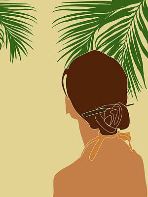 Royalty-Free and Rights-Managed Images - Tropical Reverie - Modern Minimal Illustration 12 - Girl, Palm Leaves - Tropical Aesthetic - Brown by Studio Grafiikka